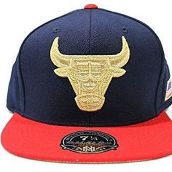 Mitchell & Ness Men's Chicago Bulls USA Flag Fitted Hat