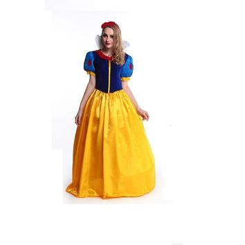 S-XL Women fantasia Princess Snow White Cosplay Costume Carnival Party Dress Women Adult Snow White Halloween Costume