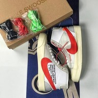 OFF WHITE x NIKE  BLAZER STUDIO MID AA3832 006 OW WHITE RED GREY SHOES - BEST ONLINE SALE