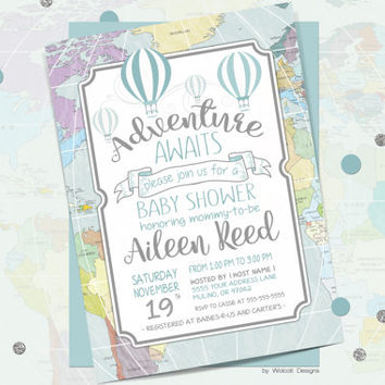 Adventure awaits baby shower invitation, hot air balloons, around the world, baby shower, blue baby shower, coed baby shower invitation