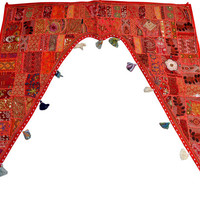 """46x42"""" Decorative window valance door curtain wndow curtain topper home decor valance vintage runner Indian patchwork tapestry wall hanging"""