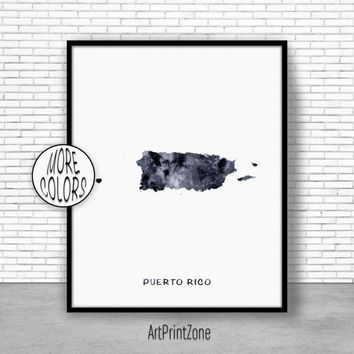 Puerto Rico Print Office Art Print Watercolor Map Puerto Rico Map Print, Map Art Map Artwork Office Decorations, Country Map, Art Print Zone