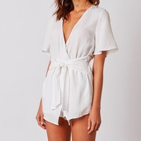 cotton candy la - libra rayon romper - white