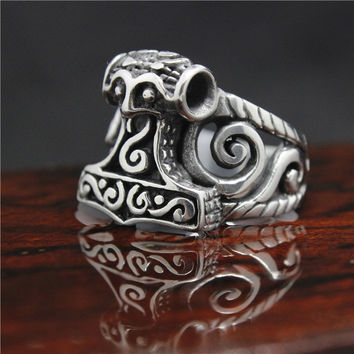 Top Sales Mens 316L Stainless Steel Black Thor Hammer Ring