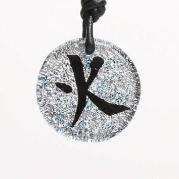 Dichroic Glass Pendant Chinese Fire Character Symbol
