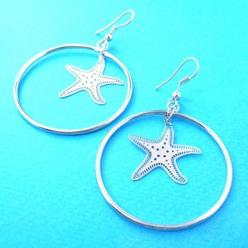 Classic Starfish Star Shaped Dangle Hoop Earrings in Silver | Animal Jewelry