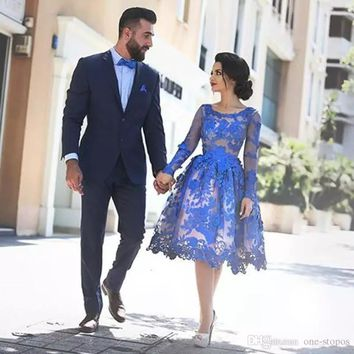 2017 Royal Blue Lace Appliques Illusion Long Sleeves Cocktail Party Dress Scoop Neck Knee Length Short Homecomi dress