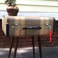 Repurposed vintage suitcase side table with wood midcentury legs