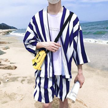 Striped Open Stitch Three Quater Thin Style Kimono Jacket 2018 Summer Beach Sun Proof Men's Jacket