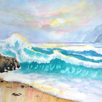 California Seascape, Ocean Waves, ORIGINAL Watercolor, 12x16, Surf, California Coast, Beach theme, Sunset, Coastal wall art, Sea Water