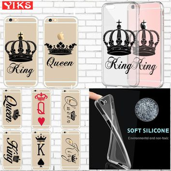 King Queen Soft Silicone Lovers Phone Case