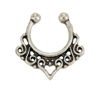 Blackheart Silver Swirl Filigree Faux Septum Ring