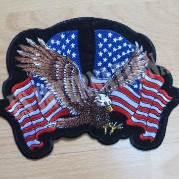 USA eagle and flag Embroidery Patches for Jacket Back Vest Motorcycle Club Biker  16.8cm*11.5cm