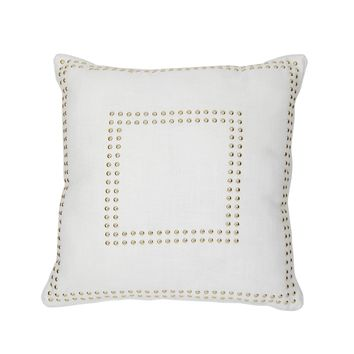 Square Gaga Double Nailhead Pillow - White/Gold