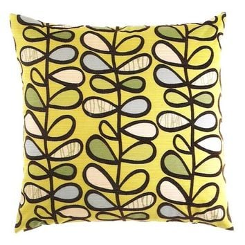 "24"" x 24"" amari kiwi abstract leaf and vine pattern throw pillow with a feather/down insert and zippered removable cover"