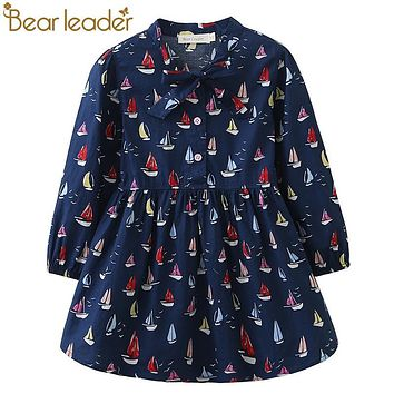 Bear Leader Girls Dress 2017 Autumn Brand Baby Girls Long Sleeve Cute Sailboat Print Ribbon Bow Kids Children Clothing Dress