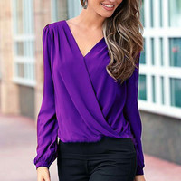 Sexy Elegant Fashion Women V-Neck Tops Casual Long Sleeve Shirt Blouse Loose Shirts 2 Colors