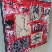 Lungs Multimedia Original Acrylic Altered Repurposed Vintage Book Art with Breath Quote Grey's Anatomy