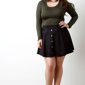 Vegan Suede Button Mini Skirt