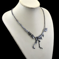 Gold/Silver/Black Tyrannosaurus Rex Skeleton Dinosaur Pendant Necklace Necklace Fashion Jewelry