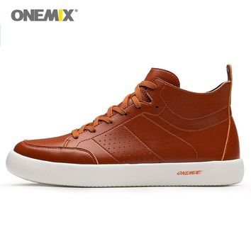 ONEMIX Man Walking Shoes For Men Micro Fiber leather High Designer Footwear Brown Light Soft Outdoor Waterproof Trail Sneakers 8