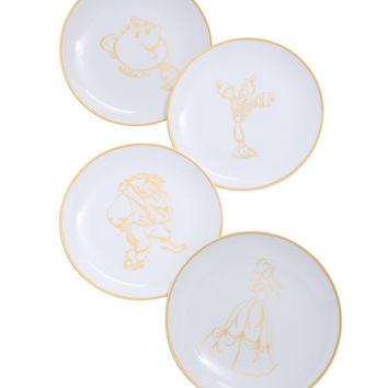 Disney Beauty And The Beast Ceramic 8-Inch Plate Set