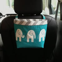 HEADREST CAR CADDY Elephants Turquoise, Car Litter Bag, Car Accessories, Auto Bag, Toy Bag for Car