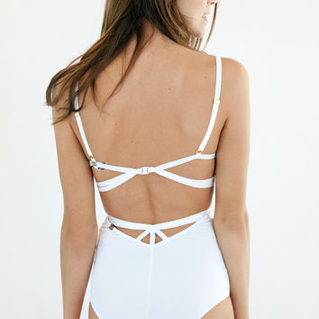 Skivvies by For Love and Lemons Sweet Heart High Waist Panty in White