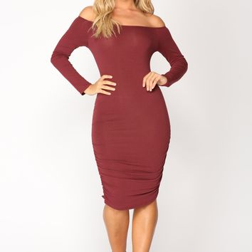 Ex Lover Ruched Dress - Wine