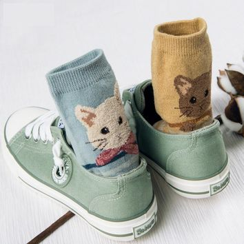 Cute Cat Fox Rabbit Animal Pattern Socks Funny Crazy Cool Novelty Cute Fun Funky Colorful
