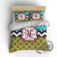 Personalized Quatrefoil, Chevron, Polka Dot Bedding Set