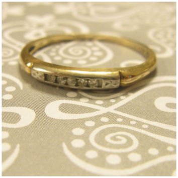 Vintage Art Deco 2 Tone Gold / Palladium and Channel Set diamonds Wedding Band- Anniversary Ring- Stack- Half Eternity- Size 5.75 + - 1.2g