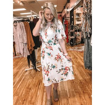 Hello Spring White Floral Dress