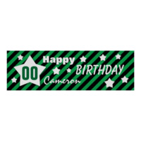 ANY YEAR Birthday Star Banner GREEN STRIPES STARS Posters