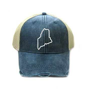 Maine Hat - Distressed Snapback Trucker Hat - Maine State Outline - Many Colors Available