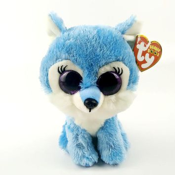 "TY Beanie Boos 6"" 15cm Jade the Wolf Plush Regular Soft Big-eyed Stuffed Animal Collectible Doll Toy with Heart Tag"