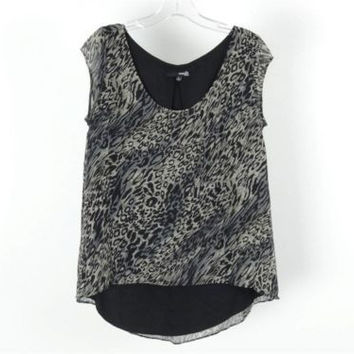 The Addison Story Gray Black Animal Print Cap Sleeve Scoop Neck Lined Top Size S