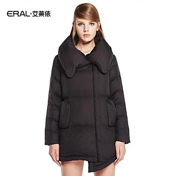ERAL New 2016 High Quality Women's Fashion Irregular Slim Thicken Down Jacket with Puffy Collar Winter Coat Plus Size ERAL6015C