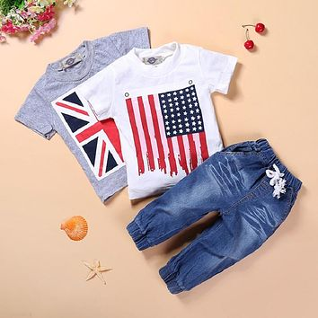 Summer clothes set boys clothing baby jeans children