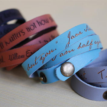 Your favorite quote --- custom engraved leather wrap cuff