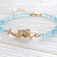 Calypso Mermaid Jewelry bracelet, Aqua Gemstone Rondelles, Ocean Inspired