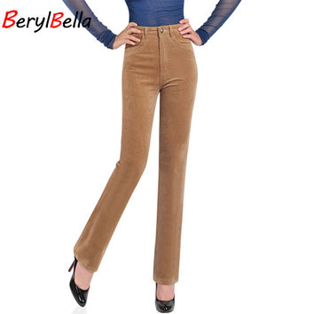 Summer Women Pants 2017 Fashion High Waist Straight Trousers For Women Female Warm Fitness Solid Work Corduroy Pants Plus Size