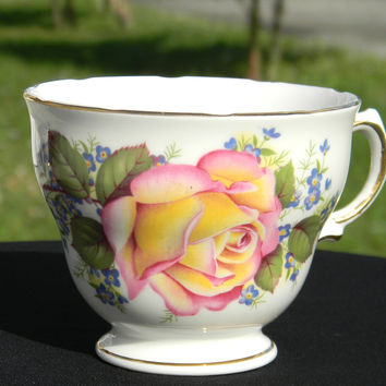 Royal Vale Peach Rose English Teacup - No Saucer - Orphan Tea cup J-1433