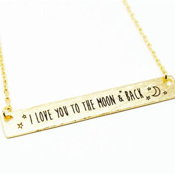 """30pcs_Hot sale """"I LOVE YOU TO THE MOON & BACK"""" Necklace Tiny Bar Necklace moon Necklace For women Birthday gift wedding"""