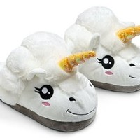 ThinkGeek Plush Unicorn Slippers OneSize, White