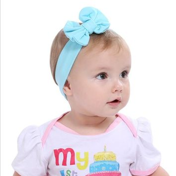 2017 Hot Sale Baby Girl Solid Knot Headband Kids Turban Knitted Bow Hair Accessories Children Cross Headwear for Baby KT017