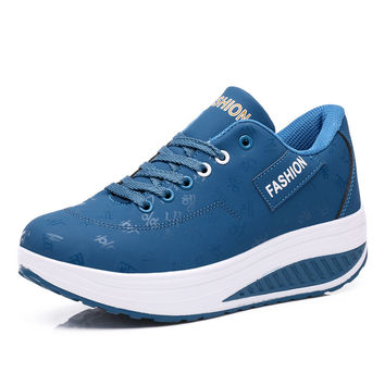 New Fashion 2016 Spring Autumn Women Wedge Shoes Casual  High Platform Shoes Breathable Black Blue Shoes Female Footwear A104