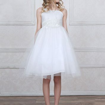 Solid Tulle Dress with Flower Embroidered