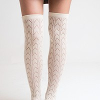 Ivory Knee High Boot Socks - Final Sale