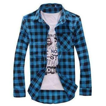 Top Quality Men's Cotton Turn-down Collar Plaid Double Beasted Full Sleeves Casual Shirt